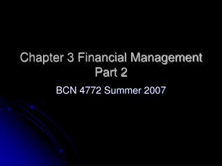 Chapter 3 Financial Management Part 2