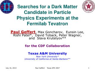 Searches for a Dark Matter Candidate in Particle Physics Experiments at the Fermilab Tevatron
