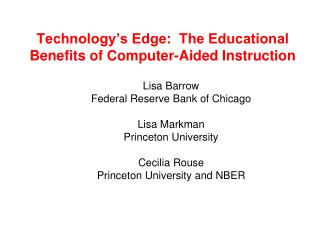 Technology's Edge:  The Educational Benefits of Computer-Aided Instruction