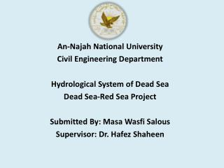 An-Najah National University Civil Engineering Department  Hydrological System of Dead Sea