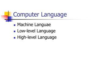 Computer Language
