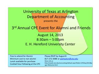 University of Texas at Arlington   Department of Accounting presents the