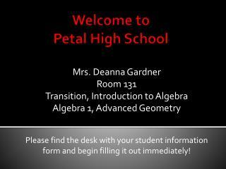 Welcome to  Petal High School