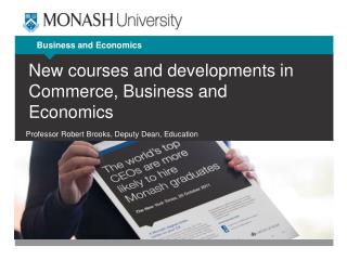 New courses and developments in Commerce, Business and Economics