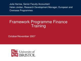 Framework Programme Finance Training