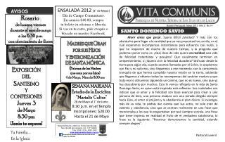 Boletín Parroquial  Mayo 2012  Año 2  No.14