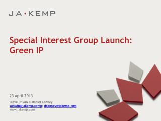 Special Interest Group Launch: Green IP