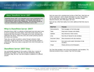 What Is SharePoint Server 2007?