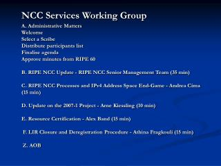 NCC Services Working Group