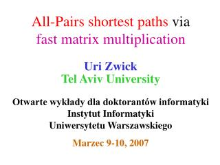 All-Pairs shortest paths  via  fast matrix multiplication