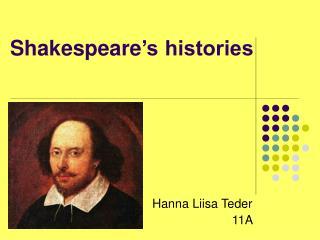 Shakespeare �s histories