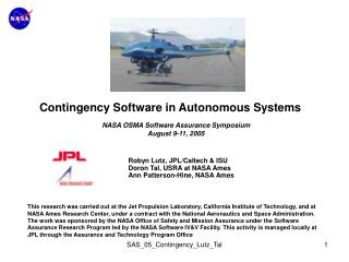 Contingency Software in Autonomous Systems