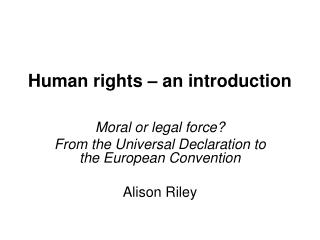 Human rights – an introduction