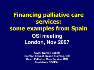 Financing palliative care services:  some examples from Spain