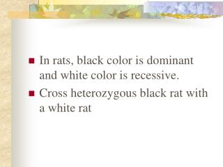 In rats, black color is dominant and white color is recessive.