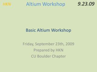 Basic Altium Workshop