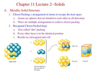 Metallic Solid Structure Closest Packing = arrangement of atoms to occupy the least space