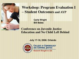 Workshop: Program Evaluation I   Student Outcomes and AYP