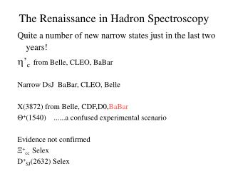 The Renaissance in Hadron Spectroscopy
