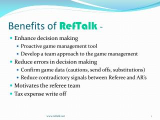 Benefits of RefTalk