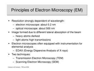Principles of Electron Microscopy (EM)