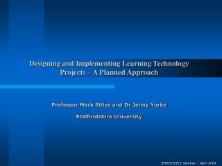 EFFECTS/ELT Seminar – April 2003