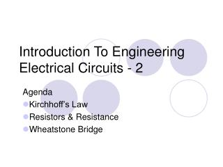 Introduction To Engineering Electrical Circuits - 2
