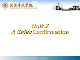 Unit 7 A Sales Confirmation
