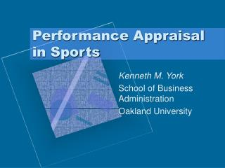 Performance Appraisal in Sports