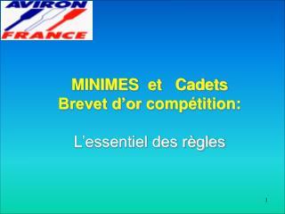 MINIMES  et   Cadets  Brevet d'or compétition: L'essentiel des règles