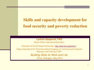 Skills and capacity development for food security and poverty reduction