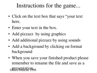 Instructions for the game...