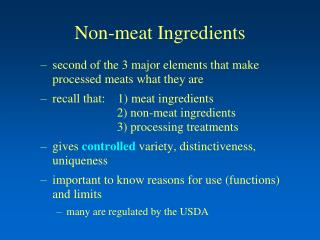 Non-meat Ingredients