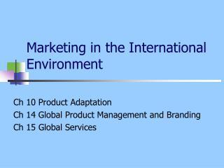 Marketing  in the International Environment
