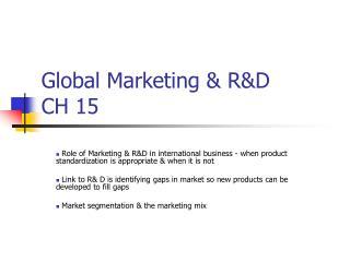 Global Marketing & R&D CH 15