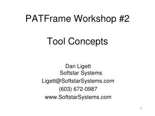 PATFrame Workshop #2 Tool Concepts