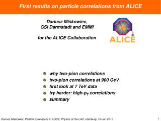 First results on particle correlations from ALICE