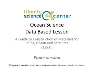 Ocean Science Data Based Lesson