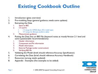 Existing Cookbook Outline
