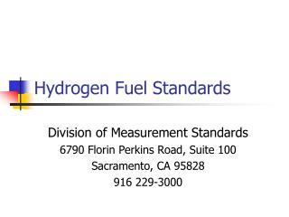 Hydrogen Fuel Standards