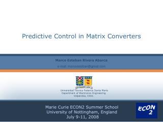 Predictive Control in Matrix Converters