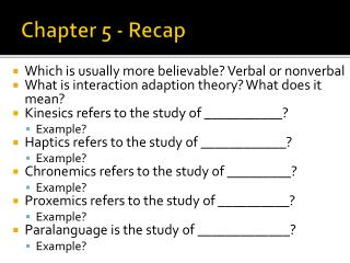 Chapter 5 - Recap