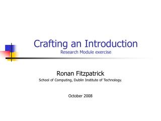 Crafting an Introduction Research Module exercise