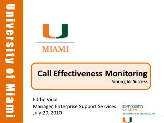 Call Effectiveness Monitoring Scoring for Success