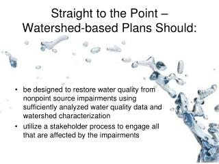 Straight to the Point �  Watershed-based Plans Should: