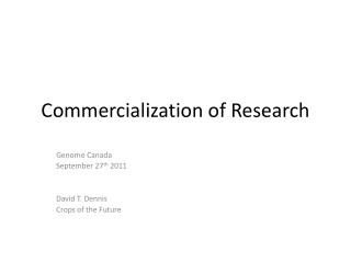Commercialization of Research