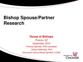Bishop Spouse/Partner Research