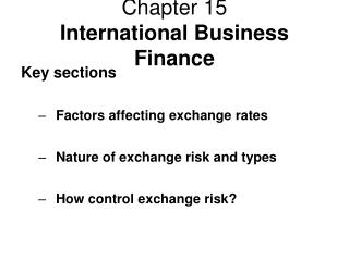 Chapter 15 International Business Finance