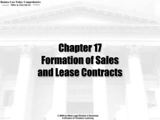 Chapter 17 Formation of Sales and Lease Contracts