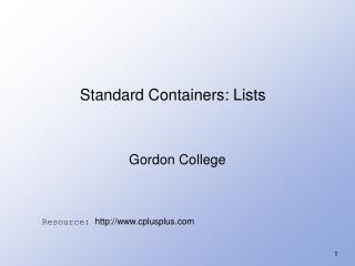 Standard Containers: Lists